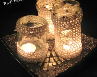 Crochet pattern tutorial for 3 lanterns.PDF instant download.3 designs to fit any round jar.Permission to sell items made from this pattern