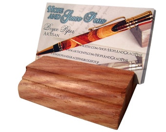 Wood business card stand in unfinished padauk wood, business card display, rustic card holder, card holder, card dispenser, desk accessories