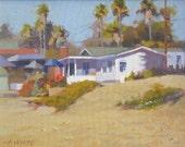 Crystal Cove - Beach - Laguna - Cottage - California - Oil Painting - Sand - Landscape - Seascape - House - Beach house - White -
