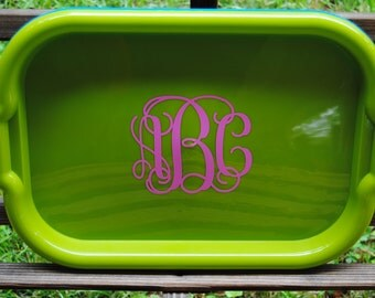 Personalized Monogrammed Serving Tray in Green with your choice of font