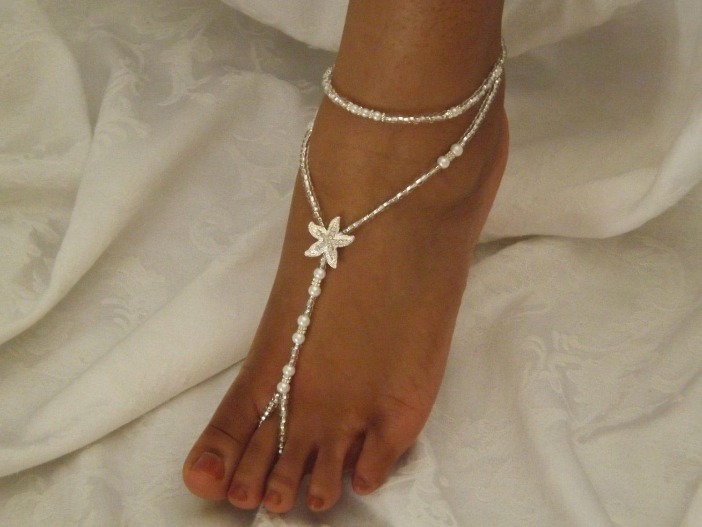 pearl foot jewelry wedding starfish barefoot by