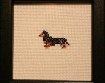 Dachshund Smooth Cross Stitched Full Body Dog.