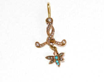 Antique Victorian dragonfly and snake art nouveau lavaliere pendant, solid 10K rose gold with seed pearls and turquoise