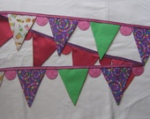 Fabric Bunting/Pennant Flag Garland/Banner - Sweet Treats-Pink/Purple/Green