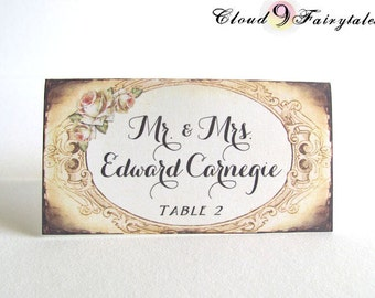 rustic wedding place cards fancy vintage style tented placecards