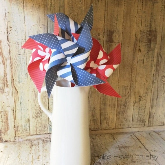 Red White and Blue - set of (6) Large Americana Decor - Paper Pinwheels