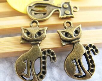 20pcs 12x26mm Antique Bronze Lovely Cat Charm Pendant  Jewelry Supplies A2931-18A