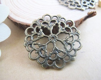 15pcs 29mm Brass Filigree Flower Wraps / Connectors / Focals - Antique Bronze Works for rings and bobby pins A1152-16B