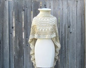BEIGE CREAM PONCHO Crochet Knit Chic Boho Poncho Trendy Unique Feminine Victorian Elegant - marianavail