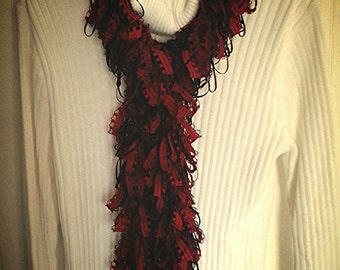 Loopy Scarf Boa in Red and Black...Handwashable