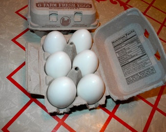 White Wooden Hen Eggs - Set of 6, Waldorf / Montessori, Play Food, Play Kitchen