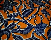 "70s 43"" x 2 yds Batik Cotton Fabric Orange Navy Blue Africa"