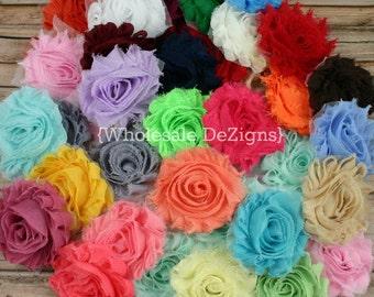 "Grab Bag Shabby Flower Solids - 2.5"" Sample Bag of Chiffon Flowers"