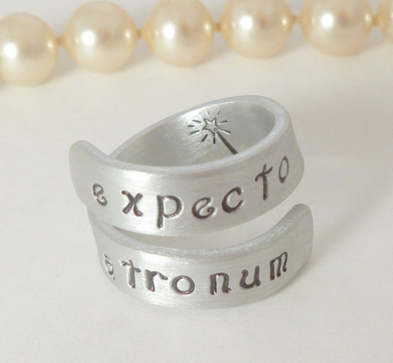 Expecto Patronum - Harry Potter Inspired - Wrap Ring - Hand Stamped-Spiral Ring-Names stamped, customized rings