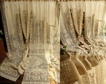 "72"" ONE panel -ANTIQUE rose FRENCH style Victorian Style French Lace Window Curtain Panel Burlap Ruffle Cream"