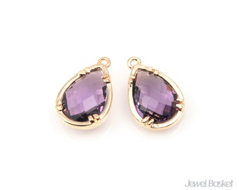 Purple Glass and Gold Plated Brass Frame Teardrop Pendant - 2pcs Amethyst Color Glass Pendant in Gold Frame / 10mm x 15.5mm / SPUG060-P