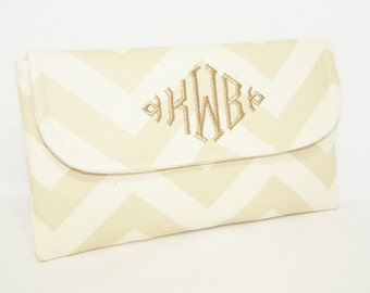 Monogrammed Chevron Clutch in Choice of Colors