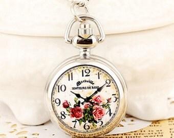 1pcs small  Flower  pocket watch charms pendant   25mmx25mm AA203