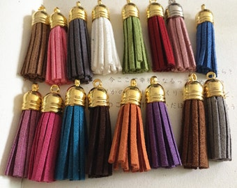 30pieces Assorted Colors 40mm Suede Leather Tassel With gold  plastic Cap