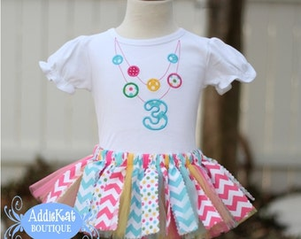 Aqua and Pink Chevron and Polka Dots Necklace Applique Fabric Tutu Birthday Outfit