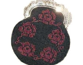 Rose beaded knitting purse kit with purse frame