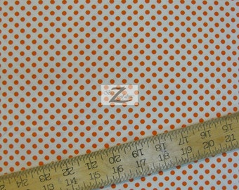 "Polka Dots Orange Dots On White 100% Cotton Fabric .25"" Dots - Sold By The Yard  - 45"" Width (FH-48)"