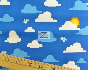 """Sky Clouds Out N About By Robert Kaufman 100% Cotton Fabric - 45"""" Width Sold By The Yard (FH-588)"""