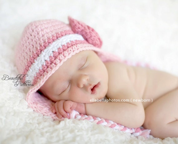 Crochet Hat Pattern Newborn Crochet Hat Beanie Star Stitch Rose Earflap PDF 230 Newborn Baby to Preteen  PhotoProp Instant Download