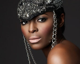Beaded Headpiece with Chain Detailing