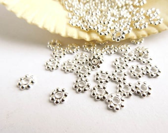 100 Silver Plated Daisy Spacers - 17-SS-3