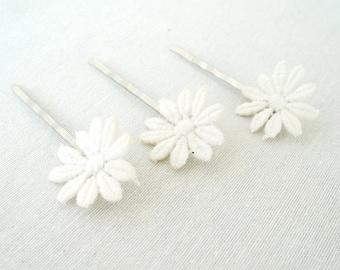 Weddings Bridal Hair Accessories Vintage Daisy Lace Bobby Pins Clips Set of 3 Summer Weddings Bridal Hair Bridesmaid Hair Clip Flower Girl
