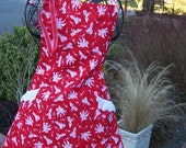 Red Cupid Print on Women's Flare Apron