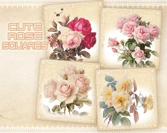 Vintage rose gift tags 2 inch & 1 inch squares on Digital collage sheet Printable download Paper goods Paper craft - CUTE ROSE SQUARES