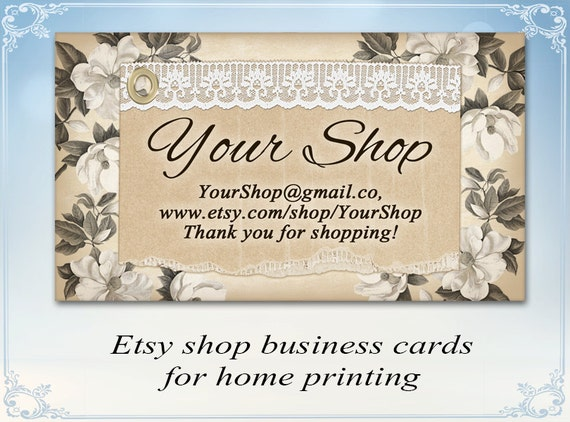 Etsy shop business cards creamy flower business cards for Etsy shop business cards