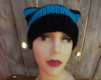 Knit Cat Beanie Women's Hat-100% Acrylic-Turquoise and Black Stripes