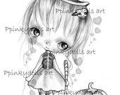 INSTANT DOWNLOAD Digital Digi Stamps..by Chrishanthi's art,Halloween girl''
