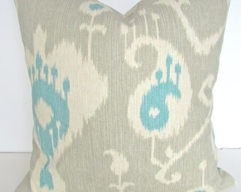 TAN THROW PILLOWS Tan Blue Throw Pillows Khaki Aqua Blue Turquoise Pillow Covers Green Ikat Throw Pillow Cover .Sale. 16 18x18 20 Home Decor