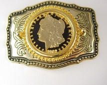 1880 Morgan Silver Dollar Cut Out Belt Buckle Gold  Made in USA Rodeo Cowboy coin jewelry accessory
