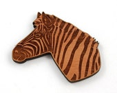 Laser Cut Supplies-1 Piece.Zebra Charms -Cherry Wood Laser Cut Zebra -Brooch Supplies-  Little Laser Lab Sustainable Wood Products