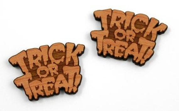 Laser Cut Supplies-1 Piece.Trick or Treat Charms -Cherry Wood Laser Cut Bear Cub-Brooch Supplies- Little Laser Lab Sustainable Wood Products