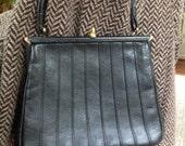 Vintage Black Leather Handbag by Redleaf Made in England for John Wanamaker