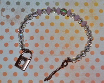 SALE Lock 'N Key Charm Bracelet with Rose Detail Beads
