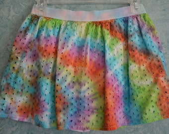 Girls' SIZE 14/16 Rainbow Spiral Tie-Dye Eyelet Skirt in Red, Orange, Yellow, Lime, Teal, Violet & White