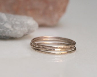 14k yellow gold fill hammered stacking bands
