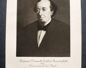 Benjamin Disrael print, antique, Earl of Beaconsfield c1877.  19th. century.