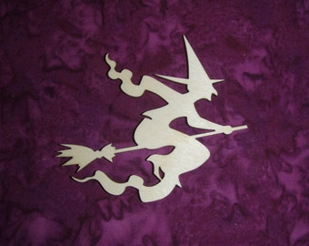 "Witch Shape Wood Cut Out Unfinished Wooden Halloween Crafts 5""x 5"" inch"