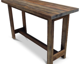 Flash Sale! Eco Recycled Vintage Dark Walnut Hand-Painted Eco Recycled Timber High Bench Kitchen / Wooden Dining Table - Lightly Distressed