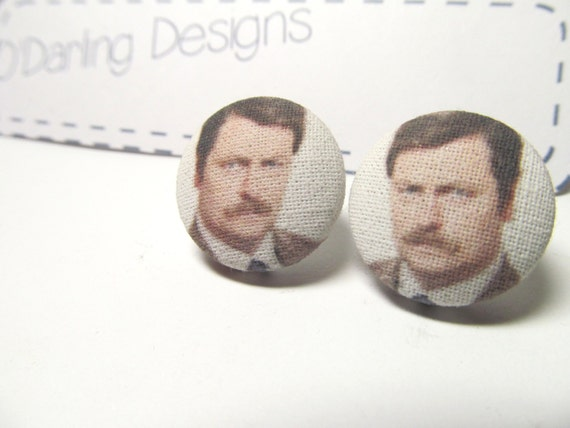 Parks and Recreation Ron Swanson Fabric Button Earrings