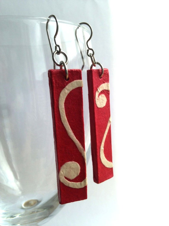 Red Hanji Paper Dangle Earrings White Swirl Design Hypoallergenic hooks Lightweight Ear rings