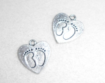 Silver Baby Feet in a Heart Charms